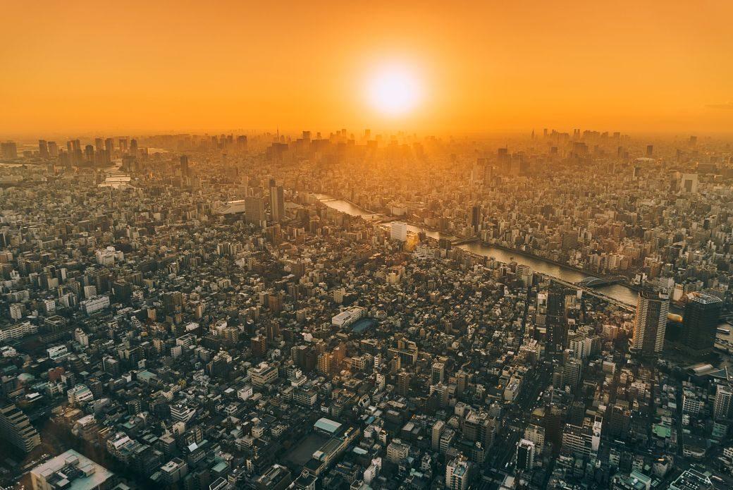 paisaje del amanecer de Tokyo