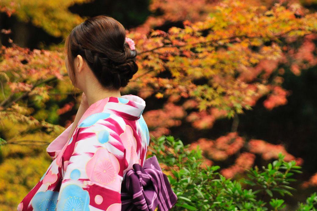 Japones con kimono y paisaje momiji