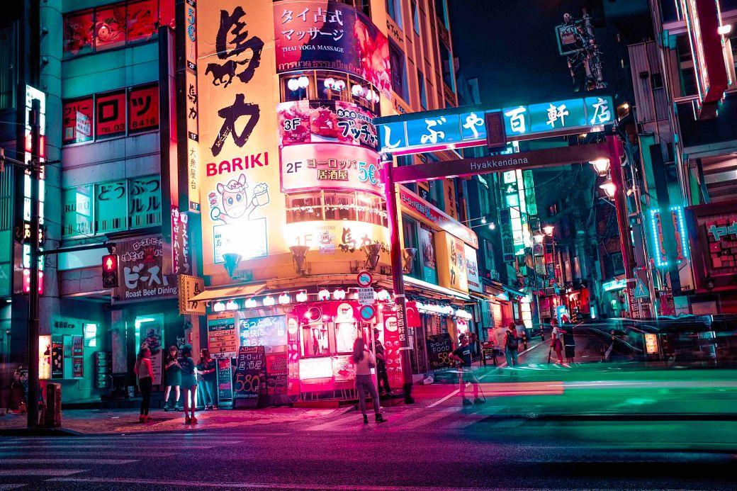 Barrio de Japón con neones