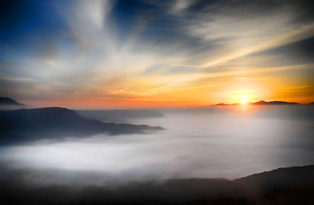 Paisaje amanecer en Japón
