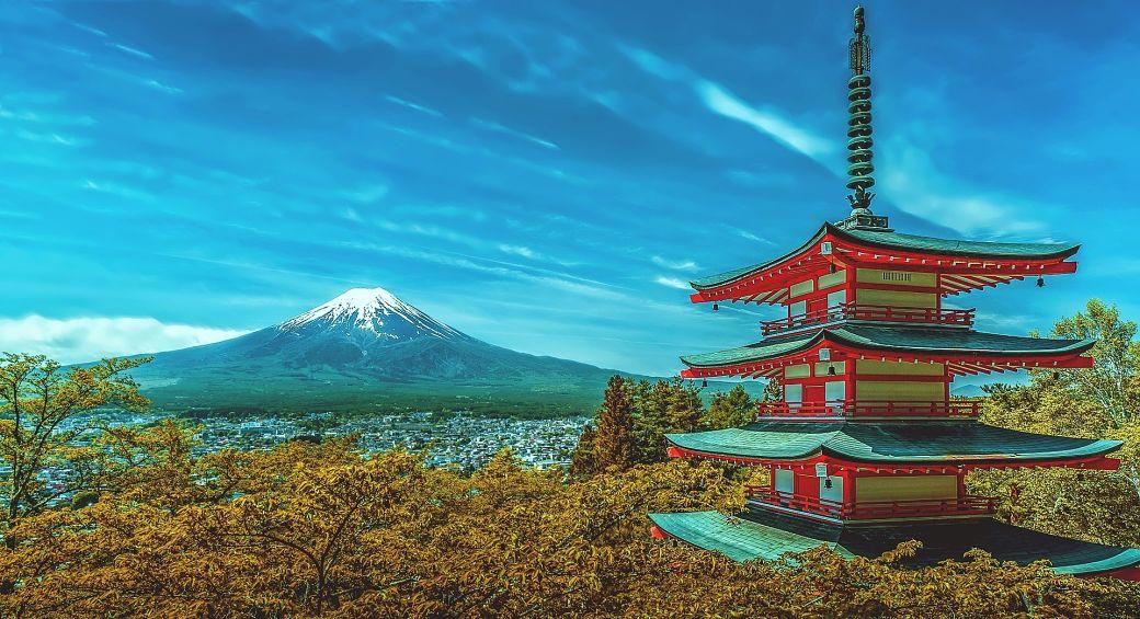 Paisaje Japón pagoda y Monte Fuji