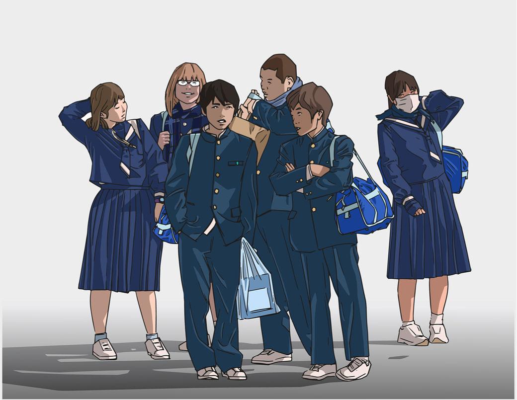 Estudiantes japoneses dibujo