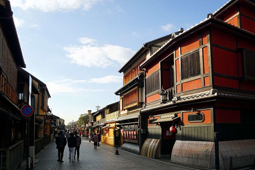 Casas de madera en el barrio de Gion, Kioto