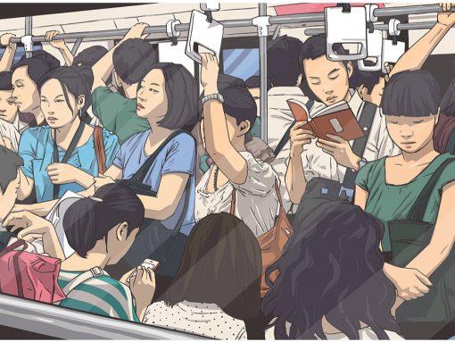 Dibujo de pasajeros en el metro de Japón