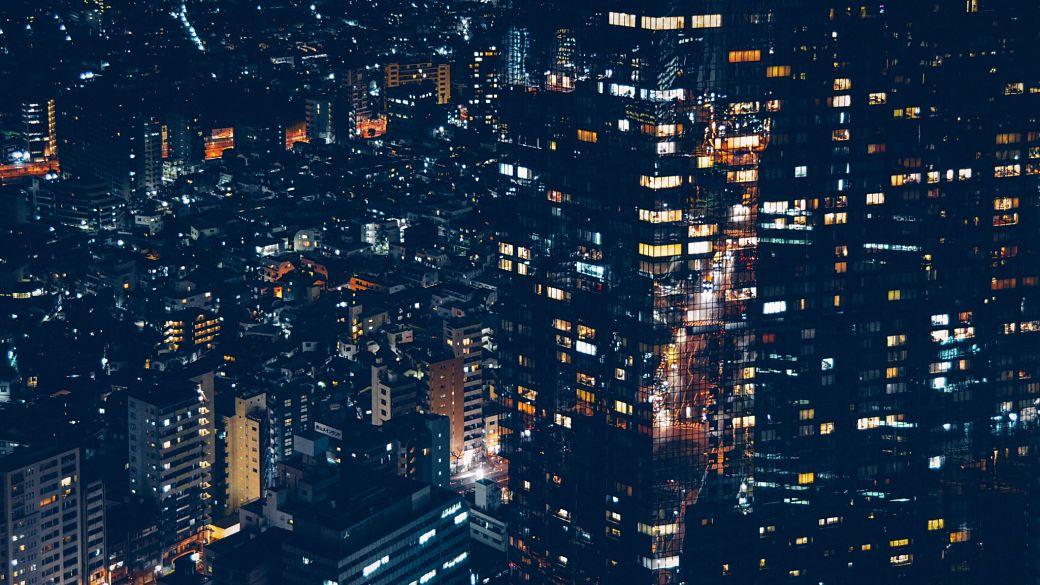 Vista aérea de Roppongi en Tokio, Japón