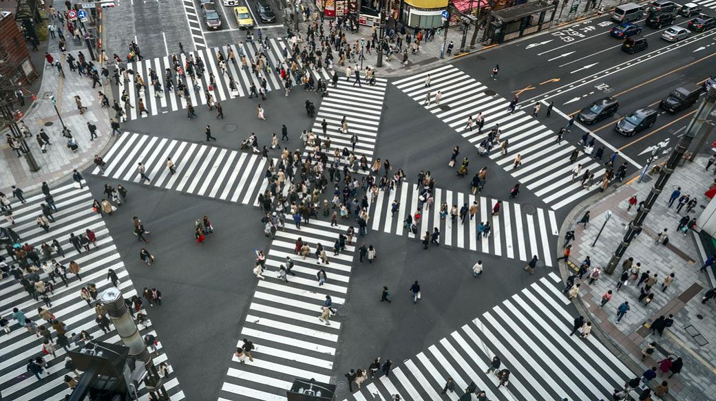 EL cruce de Shibuya a vista de pájaro