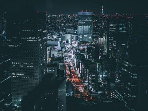 Vistas aéreas de Tokio por la noche