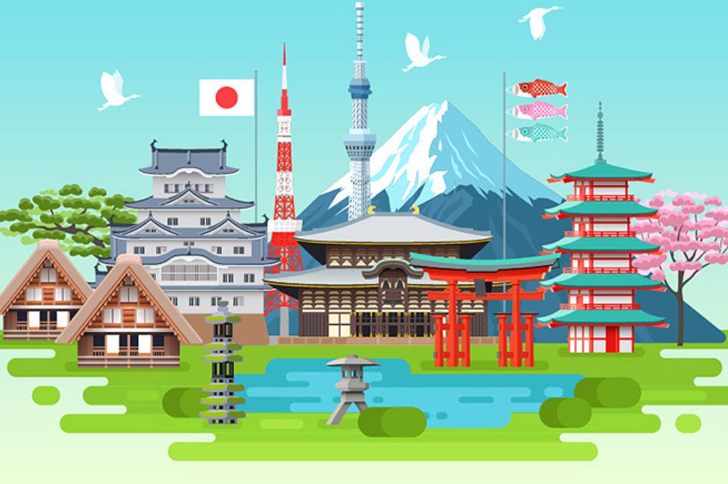 Ilustración pixelart de elementos característicos de Japón