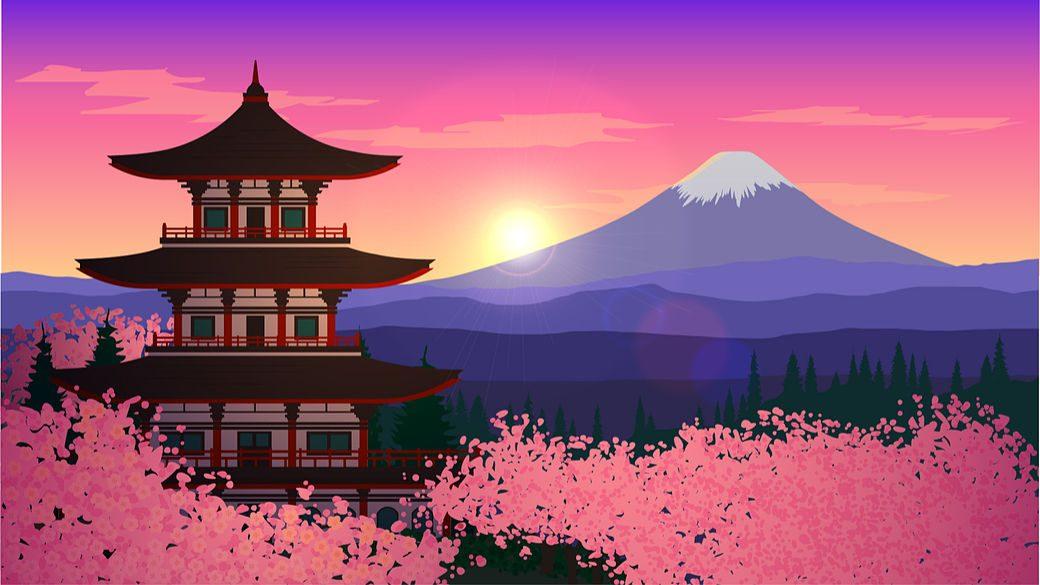 Paisaje pixelart atardecer Japón