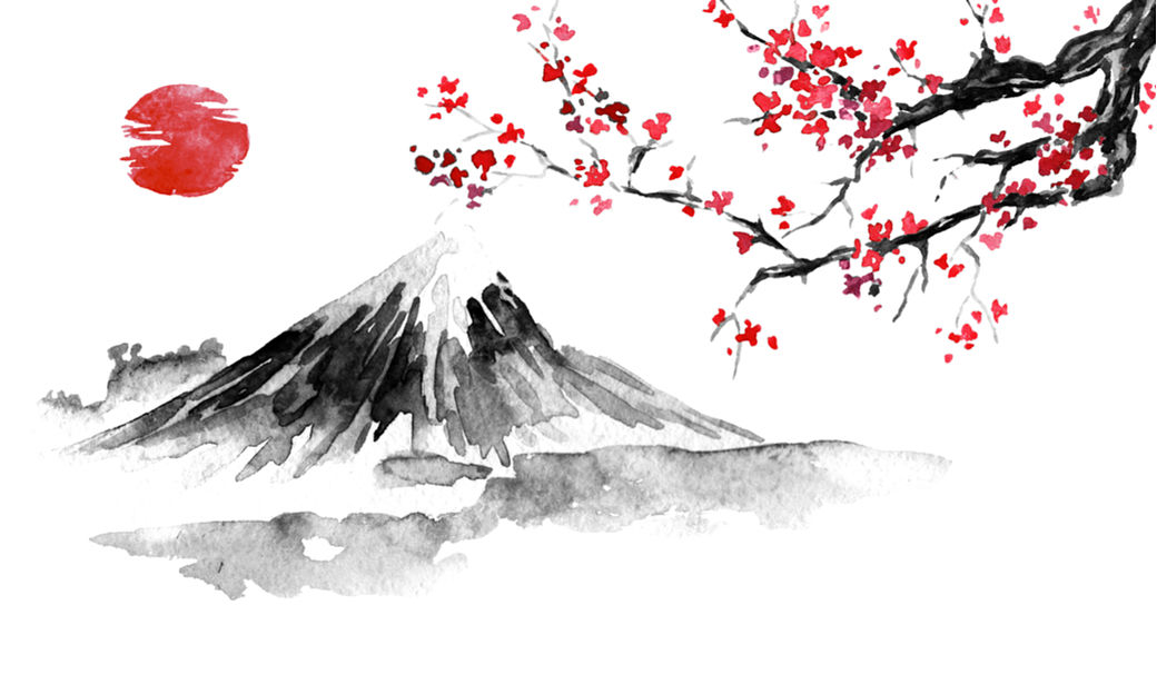 Pintura elementos Japón, cerezos, Monte Fuji y Sol