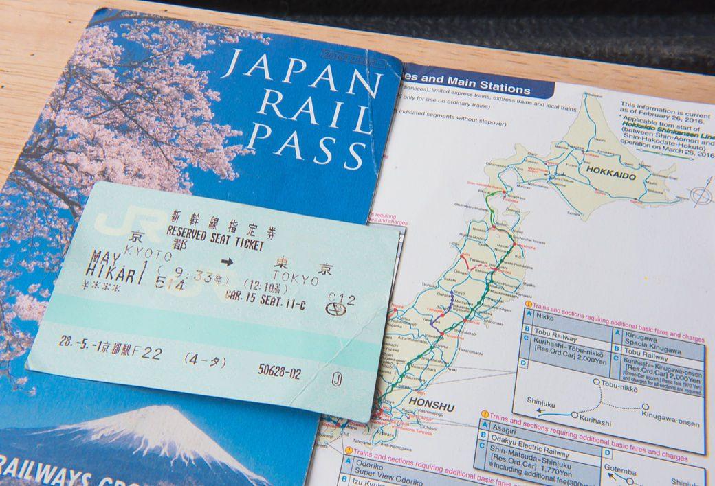 Billetes y mapa Japan Rail Pass