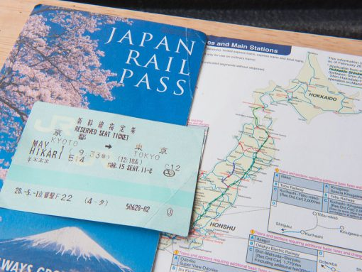 Billetes y mapa Japan Rail Pass
