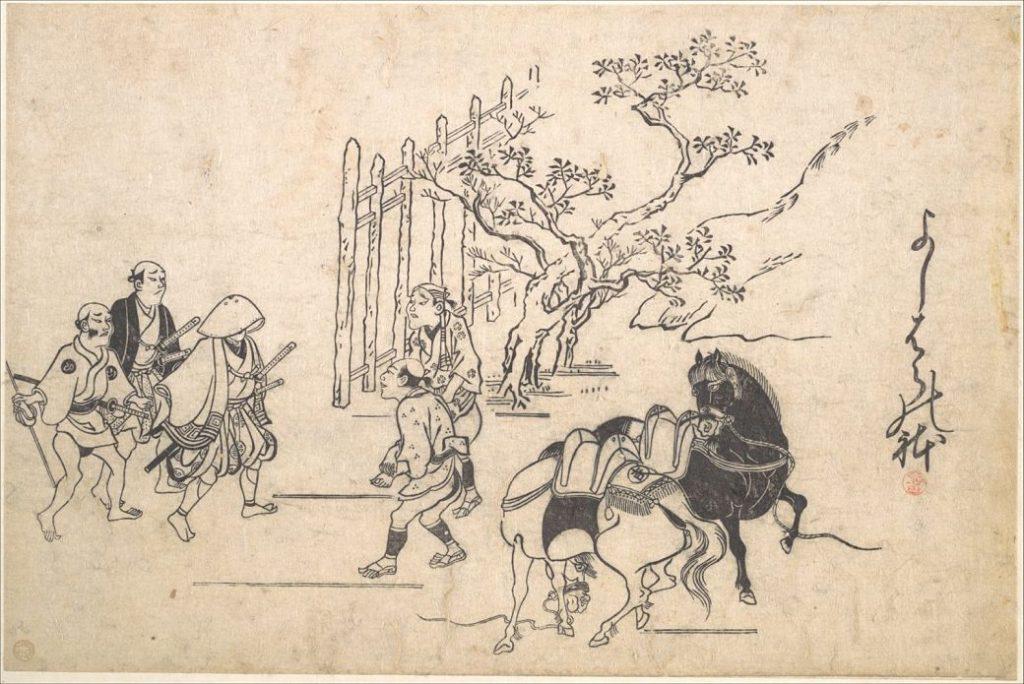 Grabado japonés donde aparecen varios guerrero samurai