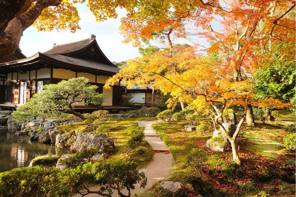 Jardines del templo Ginkakuji en Kioto