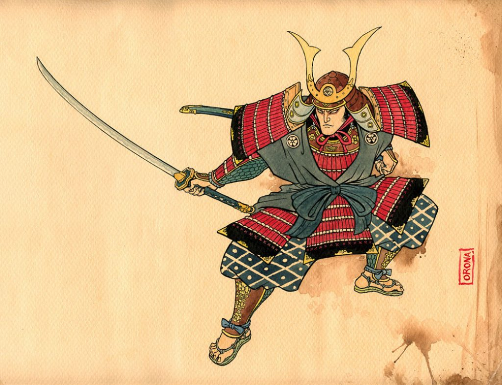 Ilustración de un samurái japonés
