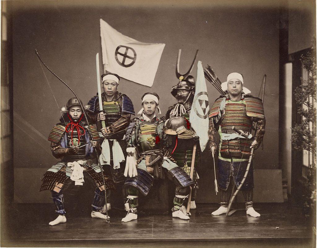 Retrato de samuráis japoneses con armadura