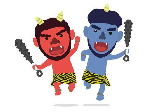 Dos demonios o oni japoneses uno e color rojo con dos cuernos y otro de color azul y un cuerno