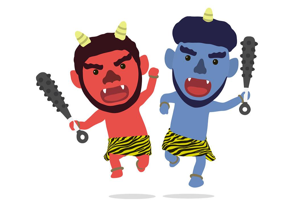 Dibujo de dos demonios u oni japoneses