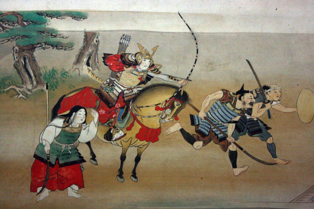 Ilustración de guerreros samurái en el campo de batalla
