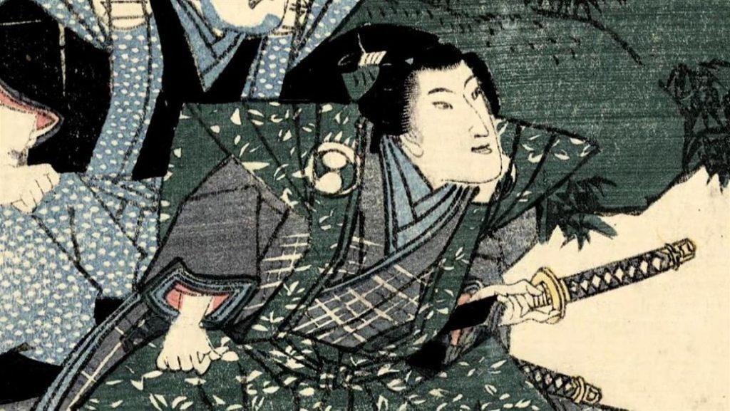 Ilustración samurái se introduce la daga en el abdomen para acometer suicidio de nombre seppuku