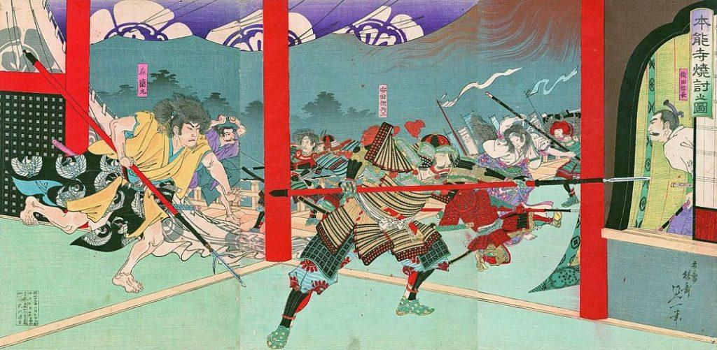 Pintura sobre la emboscada a Oda Nobunaga en el templo Honnô-ji de Kioto