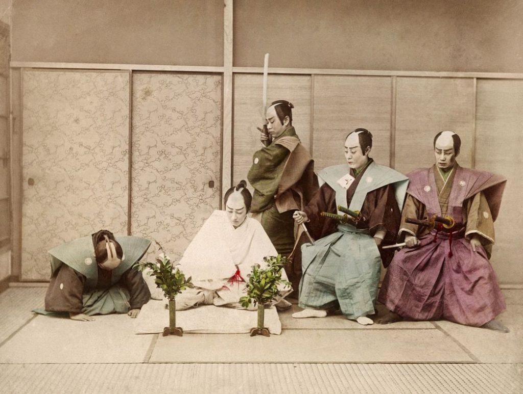 Ilustración samuráis antes de acometer seppuku