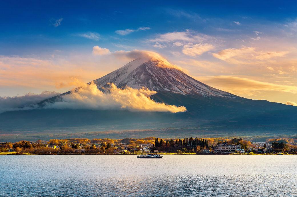 Paysage du Mont Fuji avec des nuages