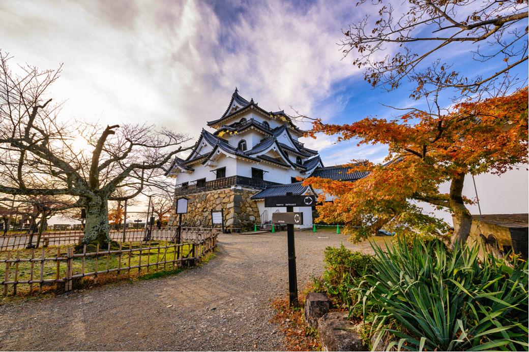 Paisaje castillo de Hikone en la prefectura de Shiga