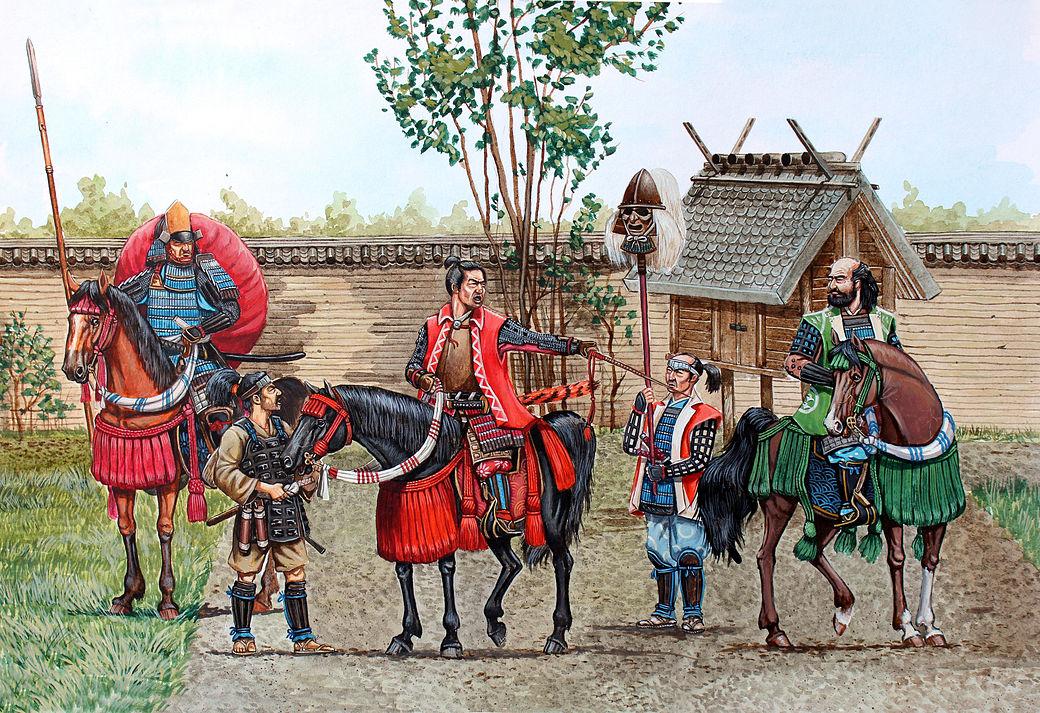 historia del ninja japonés con el retrato de samurái a caballo y a pie