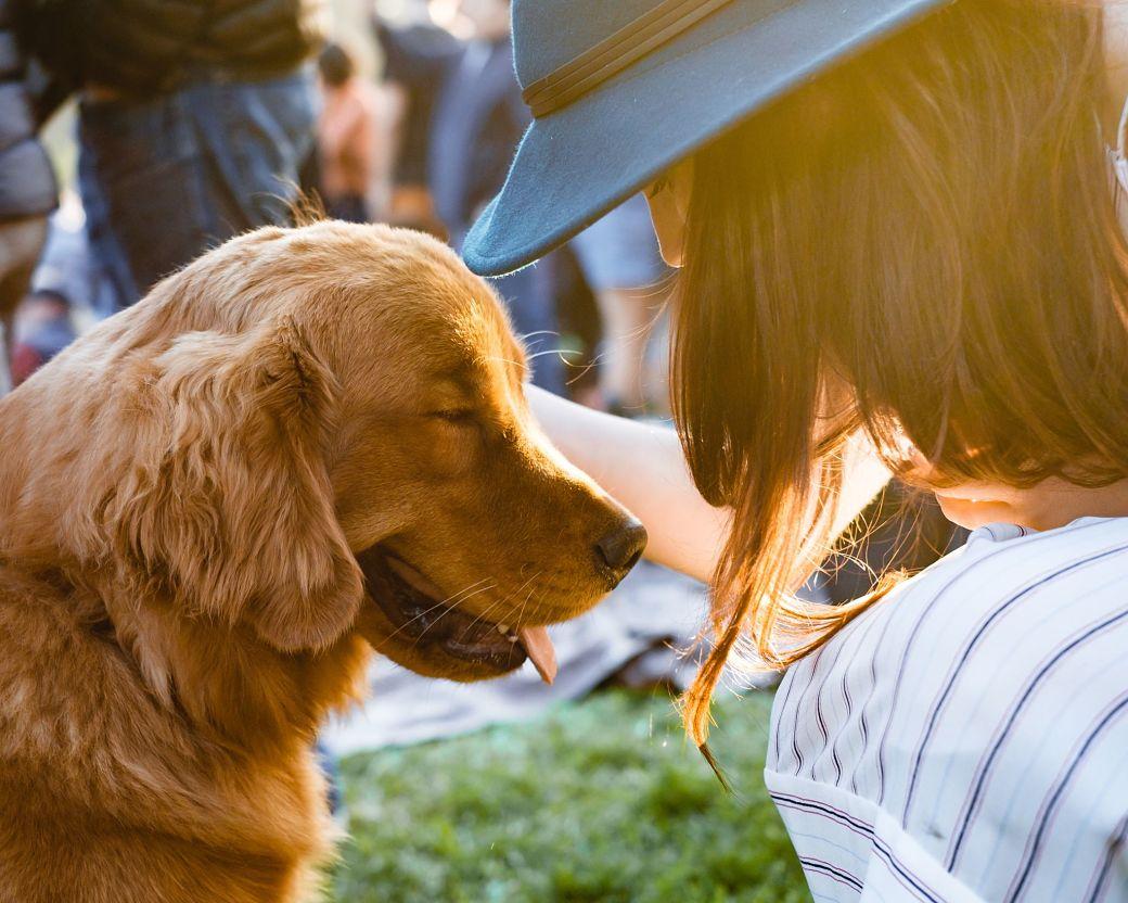 Perro junto a una chica con sombrero