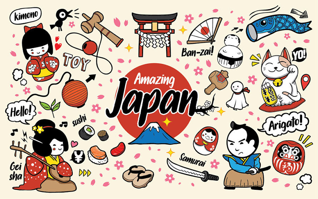 Símbolos de Japón formato dibujo