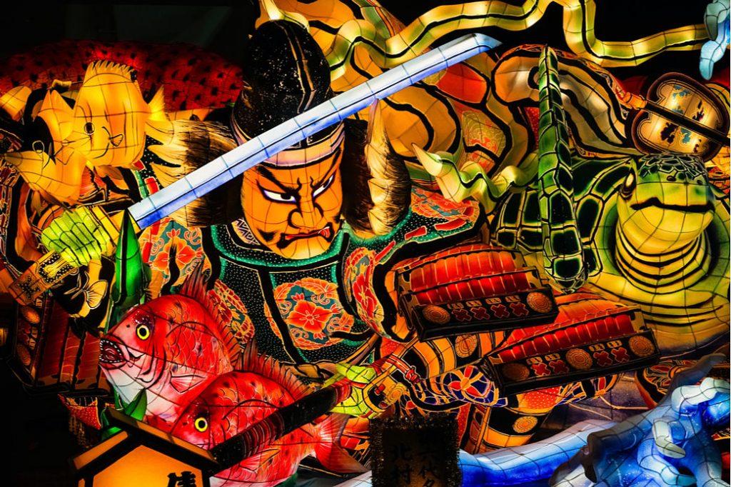 Carroza del festival de Nebuta en la prefectura de Aomori, Tohoku, Japón.